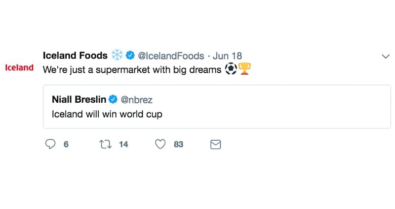 Iceland Tweet World Cup 2018